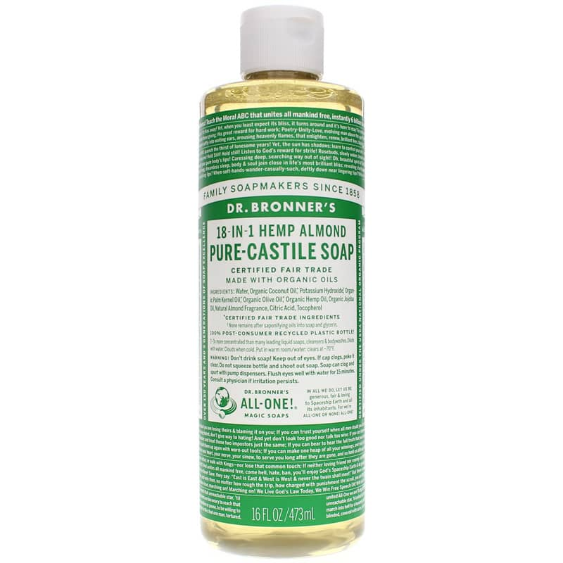 18-In-1 Hemp Pure Castile Soap Almond 16 Oz