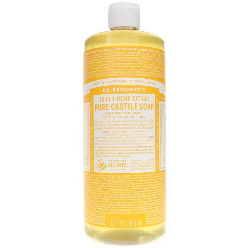 18 in 1 hemp pure castile liquid soap drbm citrus,32%20oz,main,1