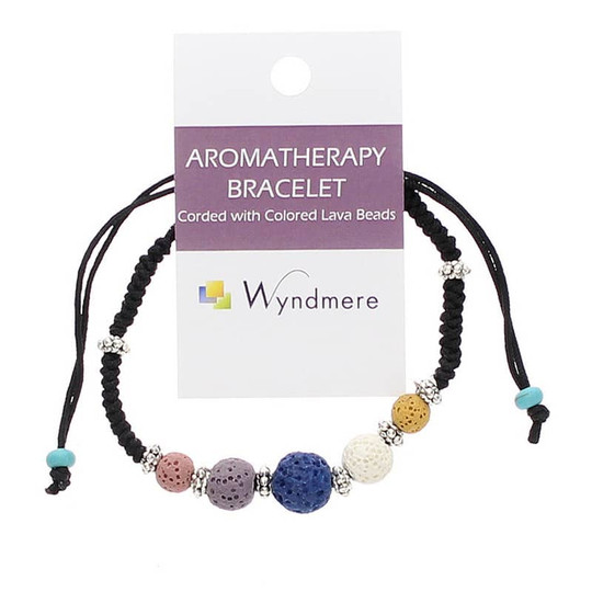 Aromatherapy Bracelet Corded with Colored Lava Beads