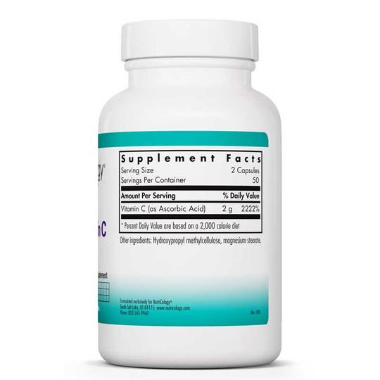 Pure Vitamin C, 100 Veg Capsules, Nutricology