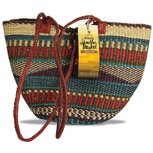 Shoulder Basket African Handwoven Grass 2 Handles