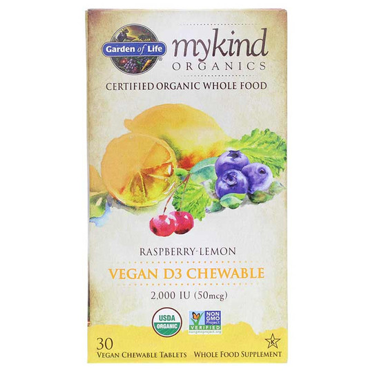 Vegan D3 2,000 IU Organic Chewable Raspberry-Lemon